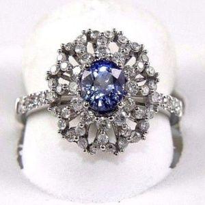 Oval Blue Sapphire & Diamond Ring 14k WG 1.86Ct